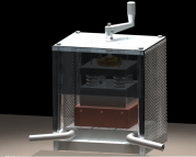 Thermoelectric test stand without insulation, but including mesh isolation