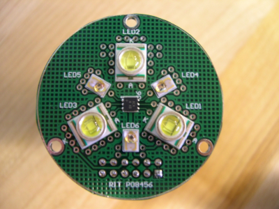 Top view of prototype LED board