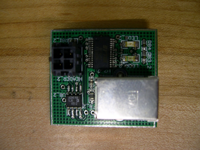Top view of prototype USB board