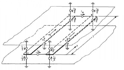Figure 1: Notation used in derived the impedance matrix of coupled transmission lines.
