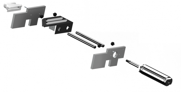 This is an exploded view of the slider assembly and its functional components. The blade carriage is not in fact one piece, but is shown in an exploded view below.
