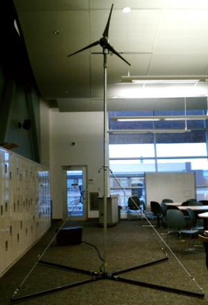 Final WECEB Assembly. Foreground: Turbine & Stand, Background: Battery Enclosure.
