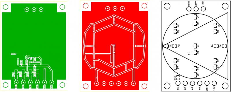 PCB Layout for the arrow and circle circuit boards