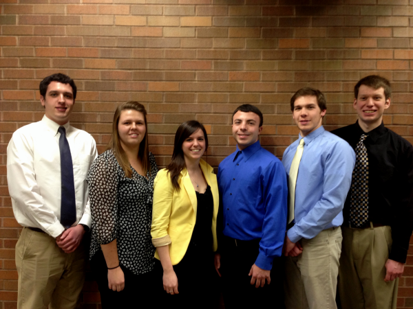 Members from left to right: Matthew Burkell, Paulina Klimkiewicz, Megan O'Connell, Steven DiGerardo, Jake Leone, David Herdzik .