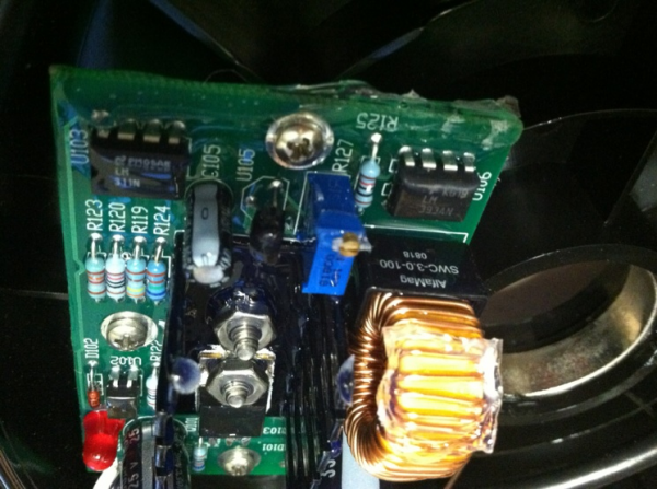Side view of the PCB inside of generator
