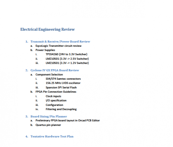 EE Table of Contents