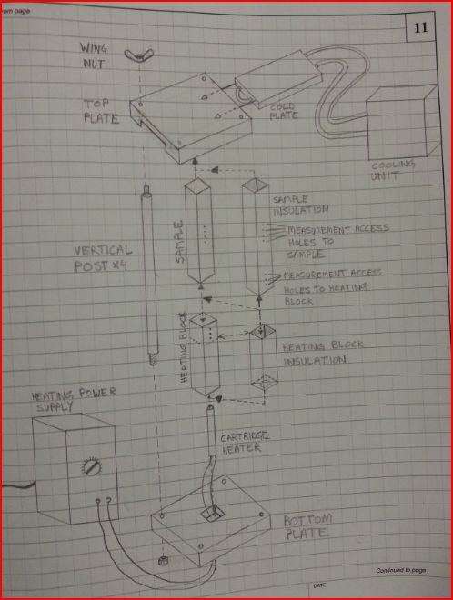Assembly drawing for the heat transfer apparatus.