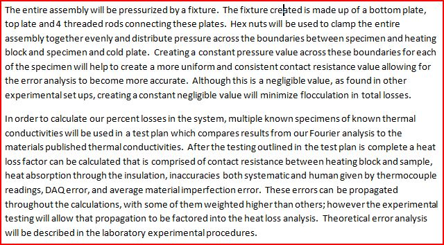 Assembly summary and analysis of heat losses p.2.