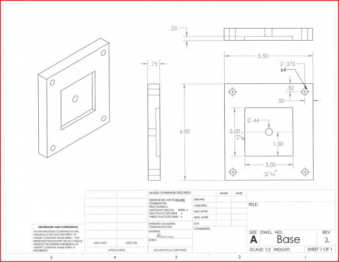 CAD Drawing of the base plate of the fixture.