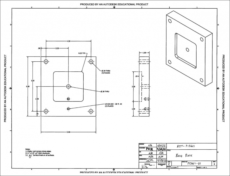 CAD drawing of the base plate: revision 4.