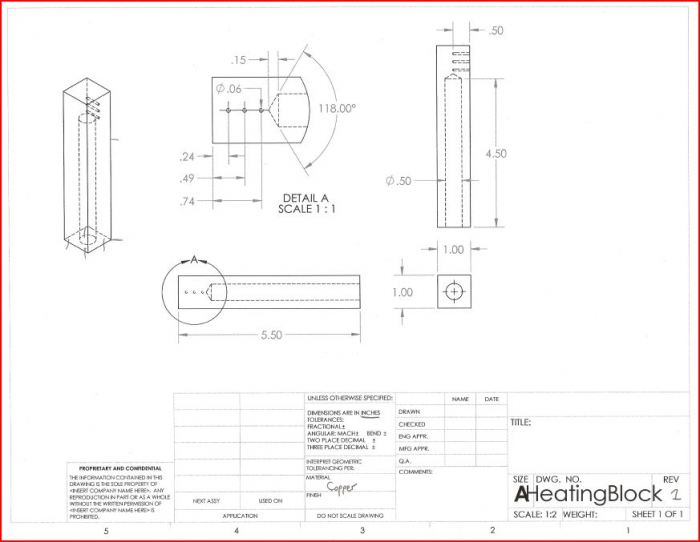 CAD Drawing of the copper interfacing.