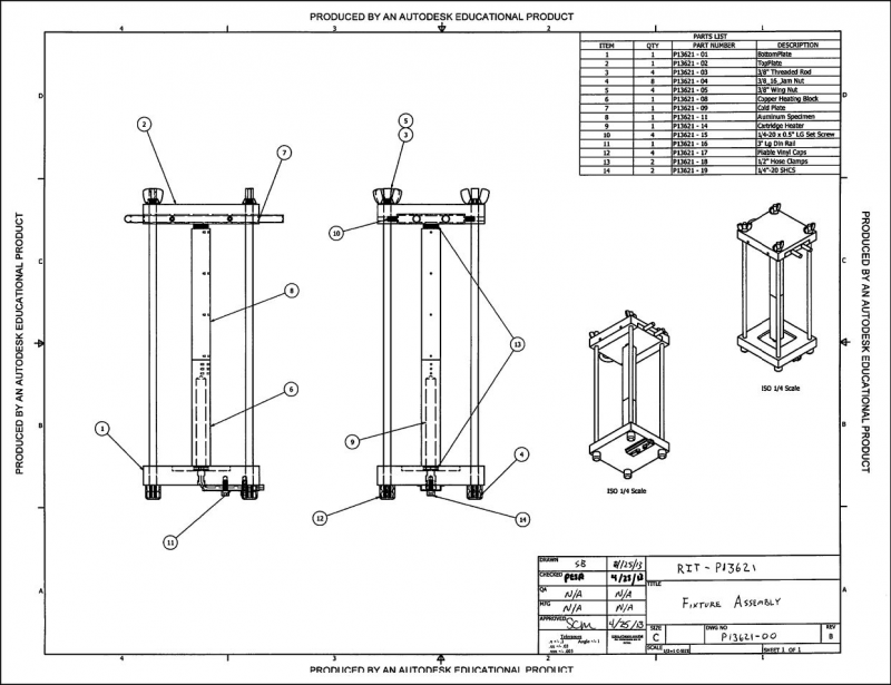 CAD drawing of the fixture assembly: revision 2.