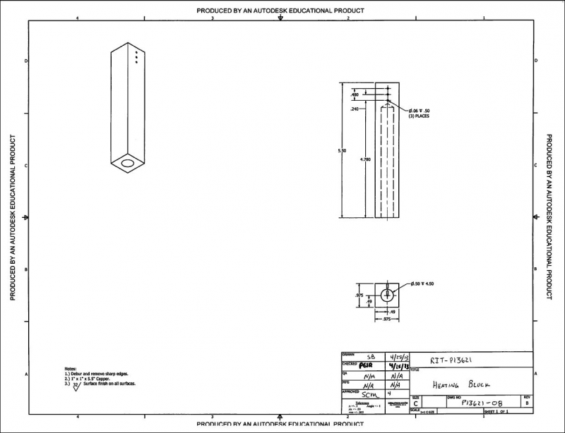 CAD drawing of the heating block: revision 4.