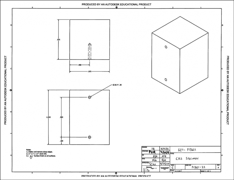 CAD drawing of the cold rolled steel specimen pack: revision 1.