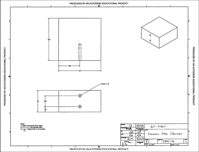 CAD drawing of the stainless steel specimen pack: revision 1.