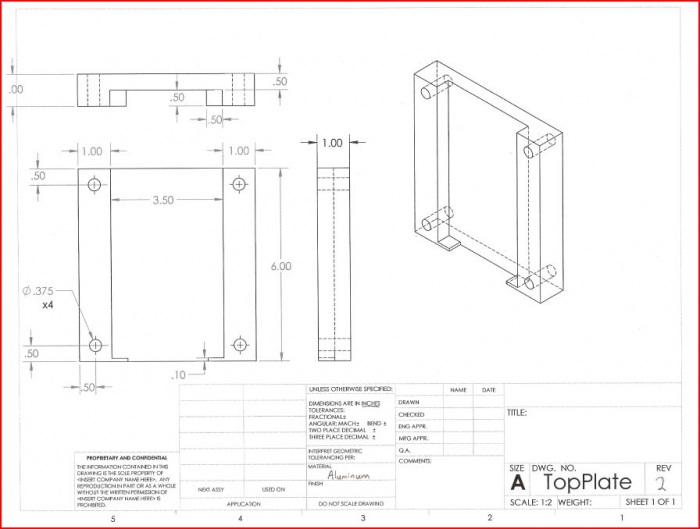 CAD Drawing of the top plate of the fixture.