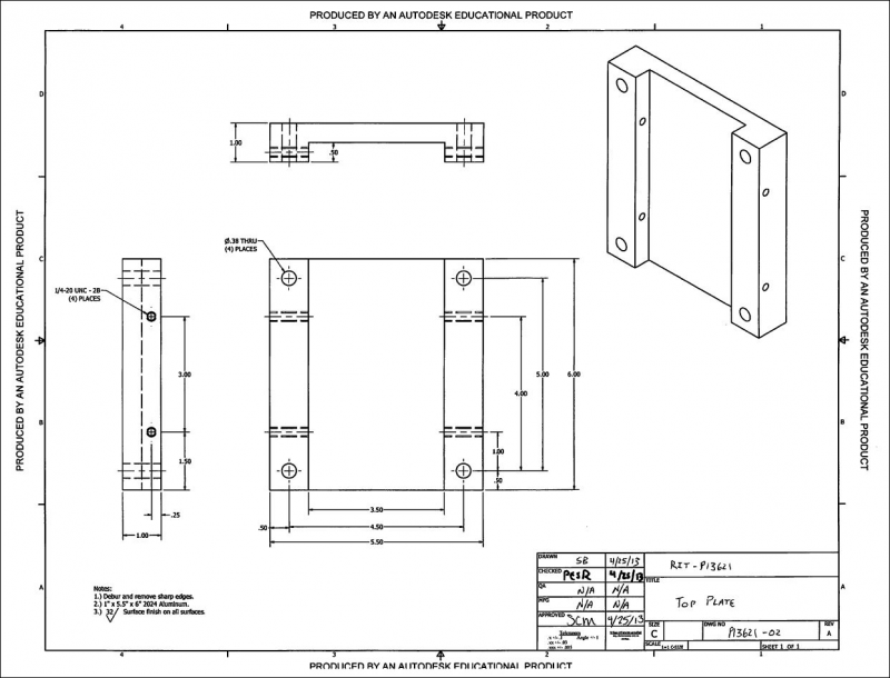 CAD drawing of the top plate: revision 4.