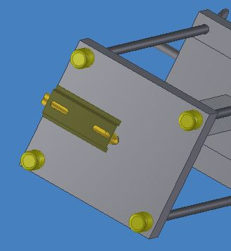 Bottom view of apparatus in Inventor. Dinrail is used to guide wires for the cartridge heater. The yellow, rubber feet are to stabilize the apparatus on the cart.