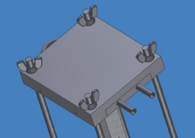 Top view of apparatus in Inventor. Wing nuts are used to tighten system and apply pressure for better transfer of heat. Tubing coming out of the cold plate connects to the cooling unit to cool the top of the specimen.