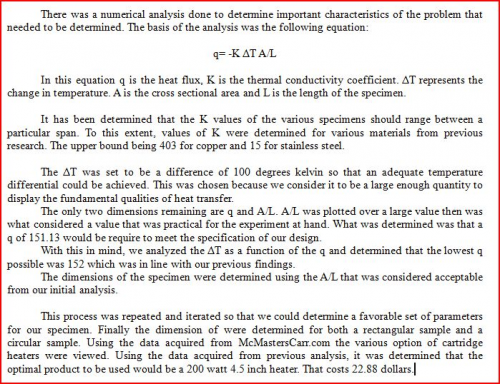 Conclusions of specimen dimension analysis.