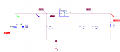 Voltage Regular 5V Simulation Circuit LED