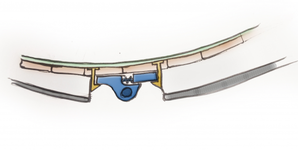 Side view - Cross section of sole unit