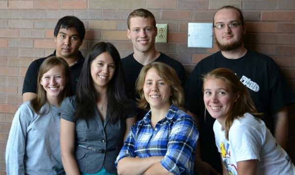 Team 14026: (Top Row, left to right) Soham Chakraborty, Michael Allocco, Andrew Miller; (Bottom Row, left to right) Stephanie Zambito, Kristeen Yee, Danielle Koch, and Leslie Havens.