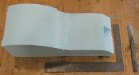 The bottom of the mold, showing the cutout for the screw land