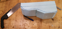 The outline of the bottom of the canopy, and initial rough shaping of the bottom of the mold block