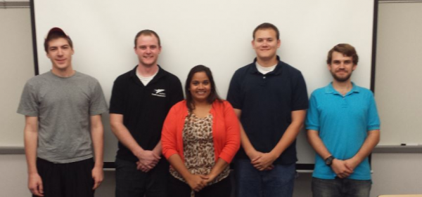 From left: Brian Benner, Kyle Abbott, Anushka Kalicharan, Mitchell Sedore, and Jacob Manly