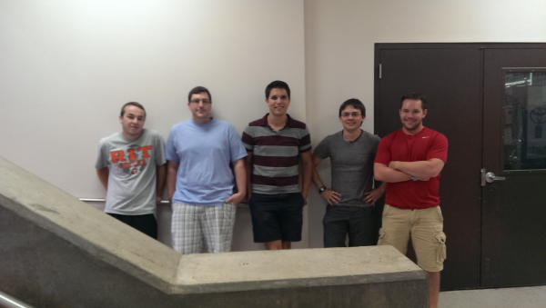 Team Members from Left: Jeremy Bennett, Austin Chacosky, Chad Rossi, Nicholas Hensel, and Matthew Demm