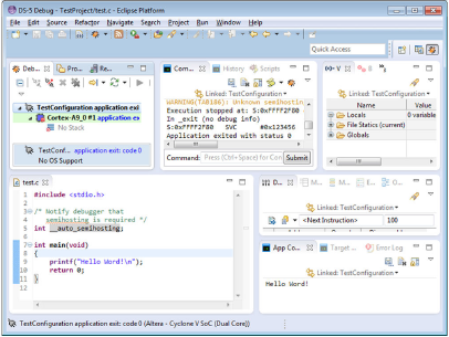 Results from EDS Hello World Test Plan Execution. Bottom right shows the Application Console displaying