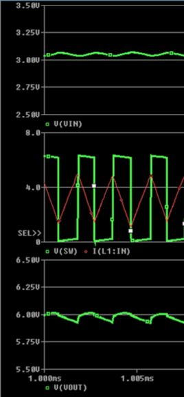 Peltier Boost Converter Simulated Input, Output and Switching Voltages