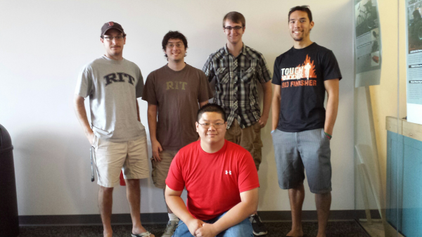 Back, left to right: Brendan Domos, Kevin Weinstein, Spencer Herzog, Nathan Sandidge <br \> Front: George Chiu