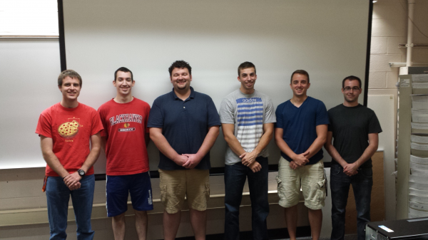 At the beginning of the year: From left to right: Tim Nichols, Andrew Heuser, Adam Farnung, Hayden Cummings, Robert Moshier, and Zach Huston