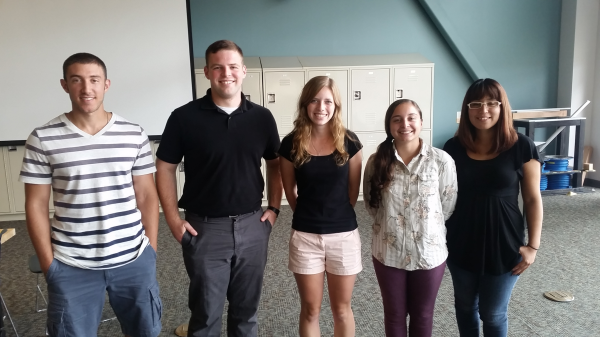 Body Cooling System Team Engineers. From left: Jared Raphael, Ben Spangler, Mallory Wingate, Alyssa Lorczak, Crystal Mendoza.