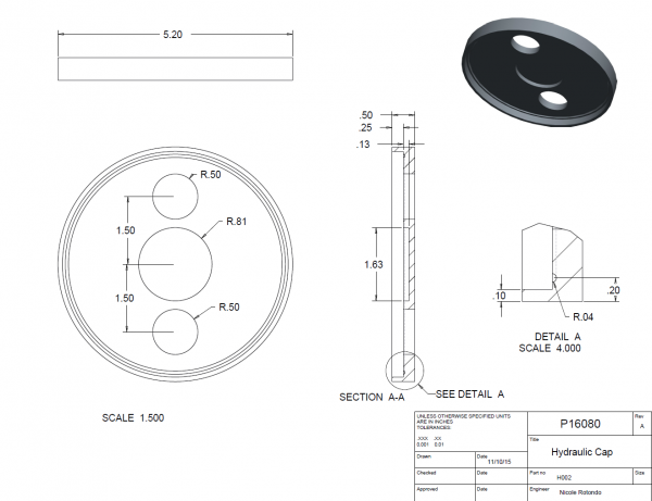 Part drawing for hydraulic chamber end cap