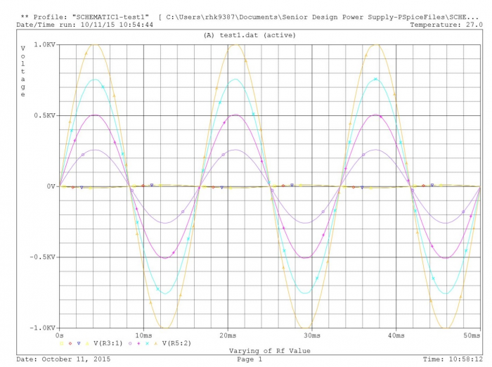 PSPICE simulation of varying the feedback resistance value to achieve variable voltages