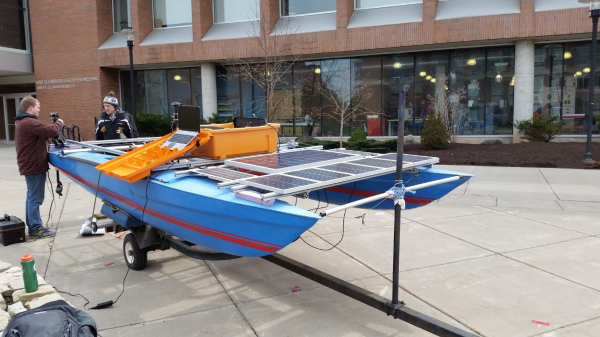 This pictures shows the preliminary testing of full solar panel array. Array is made up of two 18W Marine Grade Panels, one 100W Panel, and five 20W Trainer Panels. The battery being used is a 12V 200Ah LiPo battery with the eTracer MPPT.