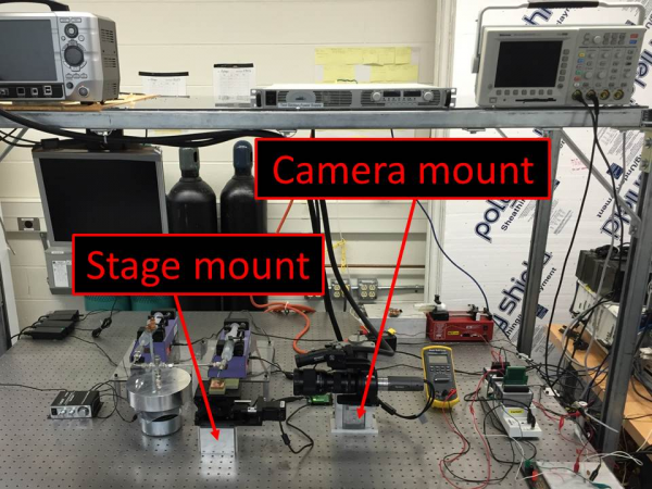 Identification of the stage mount and camera mount in the final design configuration.