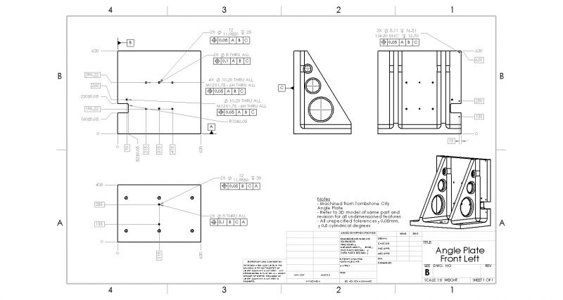 Angle Plate Drawing - Front Side Left