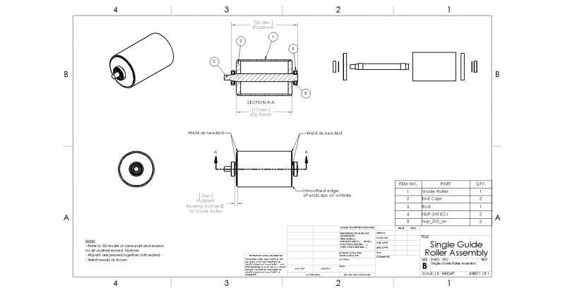 Single Guide Roller Assembly Drawing