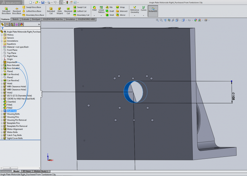 Feature Descriptions Added in CAD Model