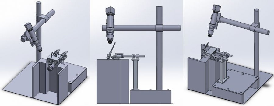 Model of the updated workstation in solidworks to test out exact placement of the camera assembly in relation to the rest of the workstation.