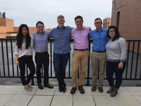 Left to right: Veronica Santoso, Tyler Roneker, Evan Bartlett, Tom Skudlarek, Ben Marus, and Nina Zheng