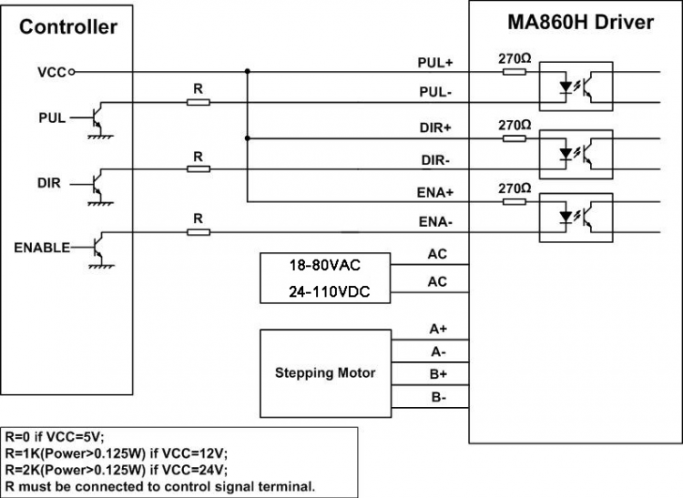 Wiring diagram for the larger driver