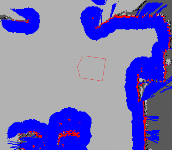 Red lines show the physical location of the walls, while the blue areas are the padding added by the map type.