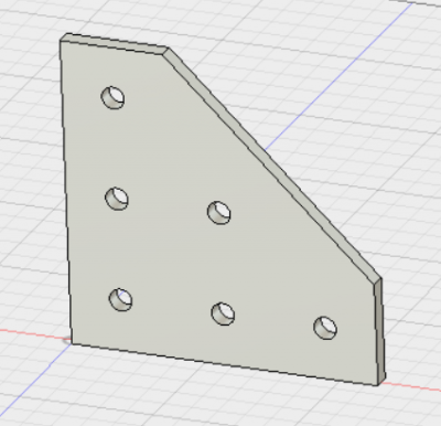 Modified 90-degree angle bracket. Note that a sixth hole has been added in the center of the part, near the diagonal edge.
