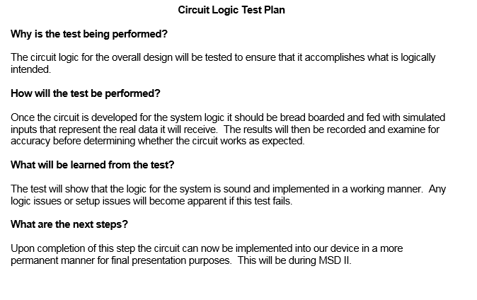 Circuit Logic Test Plan
