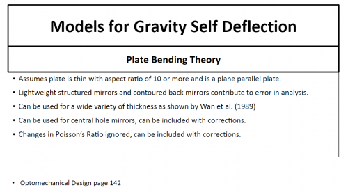 Mathematical Models to describe Gravity Self Deflection of Vertically Oriented Mirrors